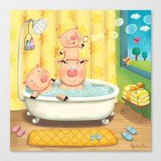 Piggy Bubble Bath Canvas Print