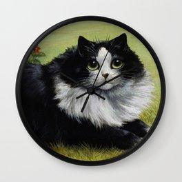 Black & White Kitty - Louis Wain Cats Wall Clock