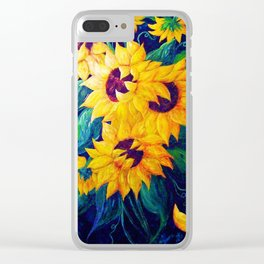 Dancing Sunflowers Clear iPhone Case