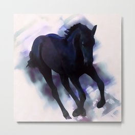 A Friesian foal's morning joy Metal Print