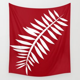 PALM LEAF RED AND WHITE PATTERN Wall Tapestry