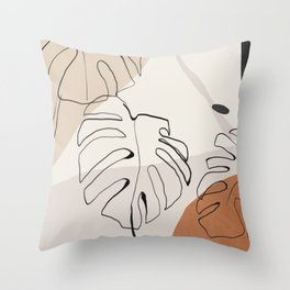 Minimal Abstract Art- Monstera Throw Pillow