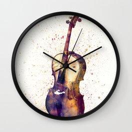 Cello Abstract Watercolor Wall Clock