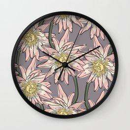 Big lotos flower pattern Wall Clock