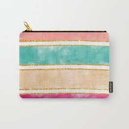 Modern Stripes Pink Red Watercolor Gold Glitter Carry-All Pouch