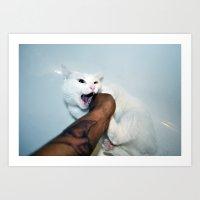 selfportrait with cat Art Print