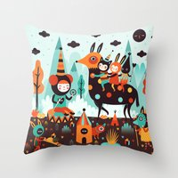 kieren walker Throw Pillows featuring The Spirit Walker by Muxxi