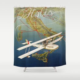 Vintage 1920s Island plane shuttle Italian travel Shower Curtain