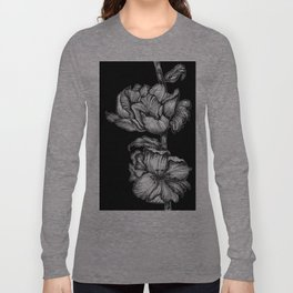 Black Floral Ink Long Sleeve T-shirt