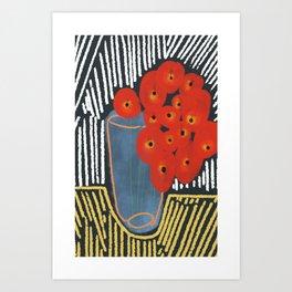 Red Poppies in Vase Art Print