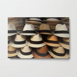 Hats at the Market Metal Print
