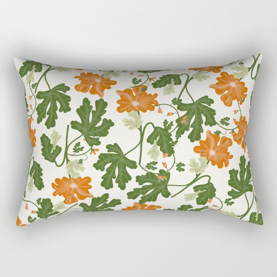 Orange Vintage Flower Pattern Rectangular Pillow