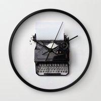 typewriter Wall Clocks featuring Typewriter by dreamshade