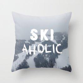 SKIaholic Throw Pillow