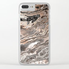 Brown Marble Texture Clear iPhone Case