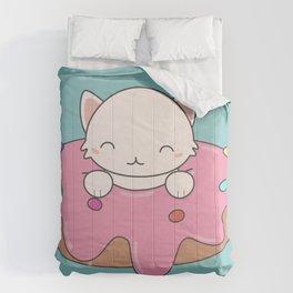Kawaii Cute Cat Donut Comforters