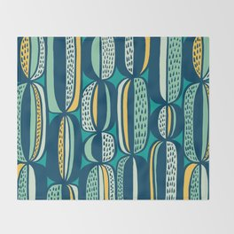 Blue Cactus Garden // mid century modern pattern Throw Blanket