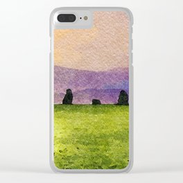 Sunrise at Castlerigg Stone Circle, Keswick, Lake District, Uk. Watercolour Painting Clear iPhone Case