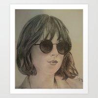 allyson johnson Art Prints featuring DAKOTA JOHNSON by Virginieferreux