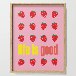 LIFE IS GOOD - STRAWBERRIES ON PARADE Serving Tray