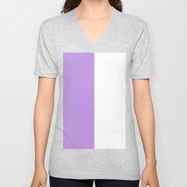 White and Light Violet Vertical Halves Unisex V-Neck