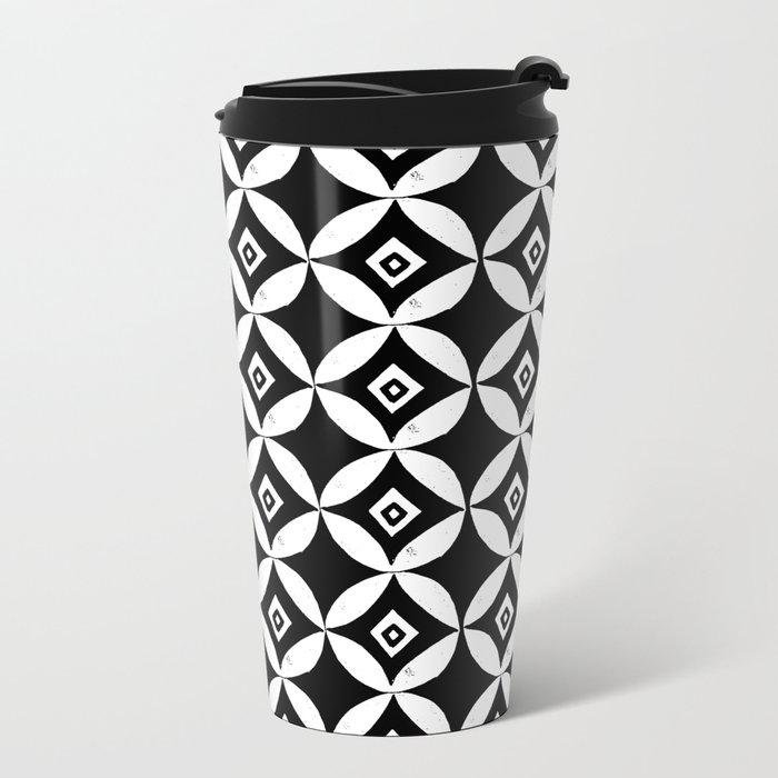 Linocut minimal scandinavian stars circles geometric black and white pattern Metal Travel Mug