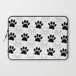Black And White Dog Paw Print Pattern Laptop Sleeve