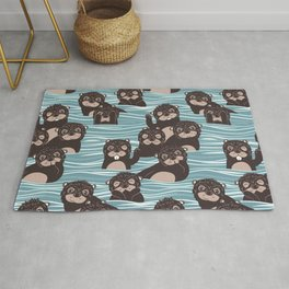 Otters dazzling the audience Rug
