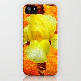 YELLOW GERMAN BEARDED IRIS FLOWER ON GOLD ART iPhone Case