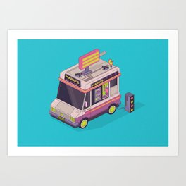 Ice Cream Rave Van Art Print