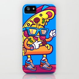 Background of modern pizza slice with skateboard iPhone Case