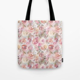Bouquets of Flowers in Soft Hues of Pastel Pink and Cream Tote Bag