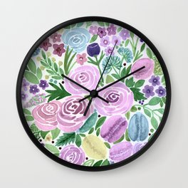 Watercolor . Macaroons in the colors . Wall Clock