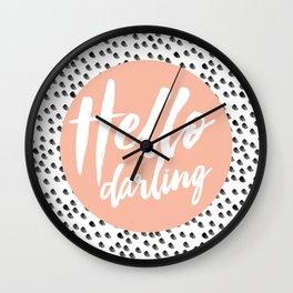 Hello Darling Spots - peach orange, black and white Wall Clock