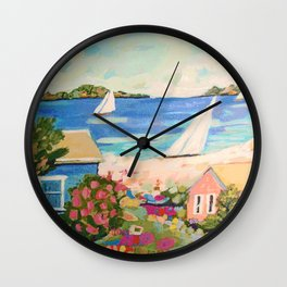 Pink Hibiscus by Karen Fields Wall Clock