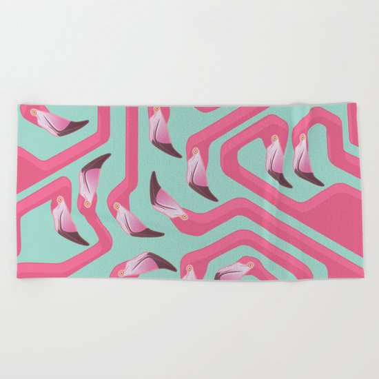 Flamingo Maze on beach glass background. Beach Towel