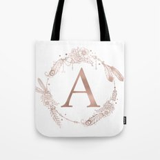 Letter A Rose Gold Pink Initial Monogram Tote Bag