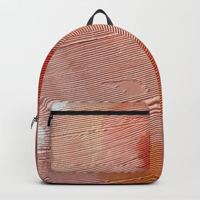 Desert Journey [1]: a textured, abstract piece in pinks, reds, and white by Alyssa Hamilton Art Backpack