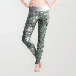 Vintage green black white hand drawn floral Leggings