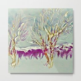 Winter Trees Purple Teal Gold Buffalo by CheyAnne Sexton Metal Print