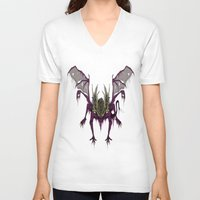 dark souls V-neck T-shirts featuring Gaping Dragon (Dark Souls) by Strange things collection