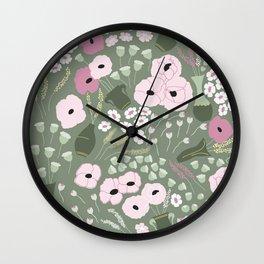 Pink Poppies - kaki floral pattern Wall Clock