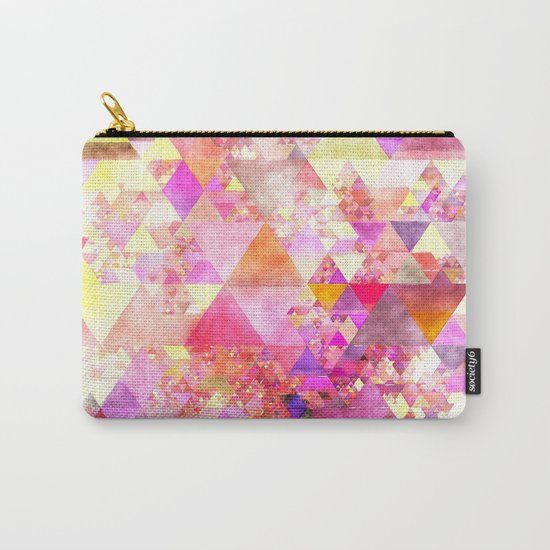Abstract pink purple yellow -Colorful triangle pattern #Society6 Carry-All Pouch
