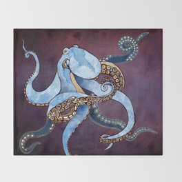 Metallic Octopus III Throw Blanket