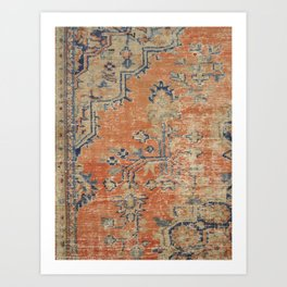 Vintage Woven Navy and Orange Art Print