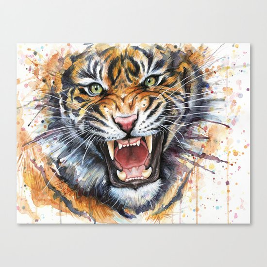 Tiger Watercolor Wild Animal Jungle Animals Canvas Print