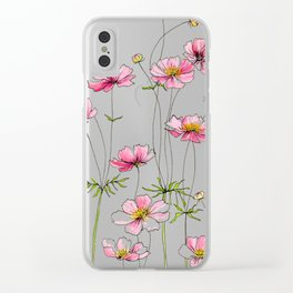 Pink Cosmos Flowers Clear iPhone Case