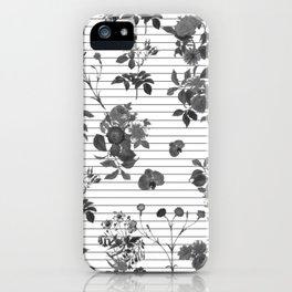 Black and White Floral on Stripes iPhone Case