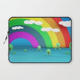 Rainbow Sky and Trees 3D Illustration Render Laptop Sleeve