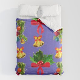 Christmas Red Bows & Bright Bells Festive Pattern Comforters